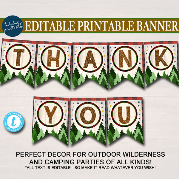 Outdoor Camping Theme Printable Bunting Banner