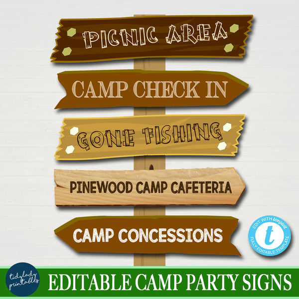 Outdoor Camping Theme Party Signs