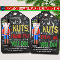 Christmas Nuts Gift Tag, Sweet Treat Holiday Nutcracker Appreciation Label