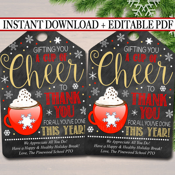 Christmas Gift Tags, Gifting You a Cup of Cheer Hot Cocoa Tag, Holiday Coffee Printable Gift Tag, ,