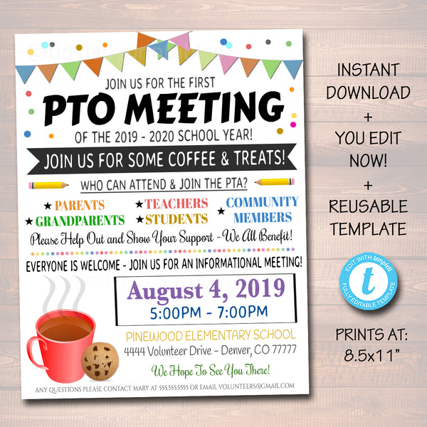 PTO PTA Meeting Flyer, School Volunteer Recruitment Flyer, Printable Handout, School Fundraiser Event, Join The PTO PTA Template