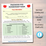 EDITABLE PTO PTA Flyer Printable Handout, School Year Fundraiser Event Meeting Sponsorship Volunteer Signup Form Template