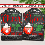 Christmas Gift Tags, Gifting You a Cup of Cheer Hot Chocolate Tag, Holiday Coffee Latte Printable Gift Tag, ,