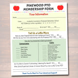 PTO PTA Flyer Printable Handout, School Year Fundraiser Event Meeting Sponsorship Volunteer Signup Form Template