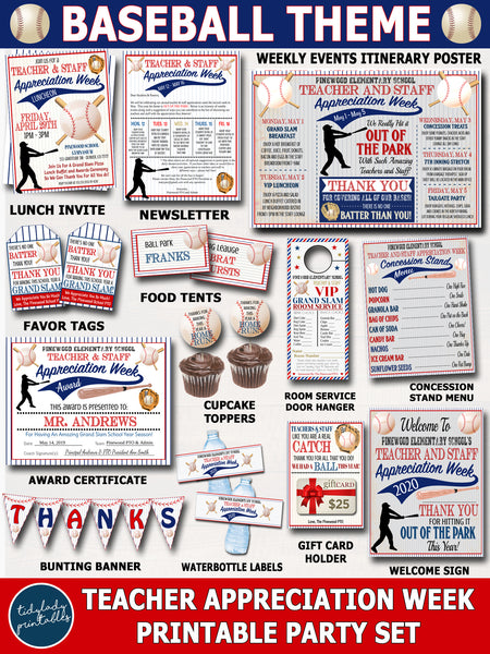 Baseball Themed Teacher Appreciation Week Printable Party Set
