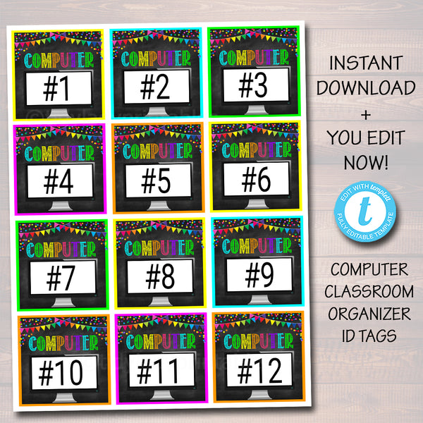 School Computer Lab Id Tags - Editable DIY Template