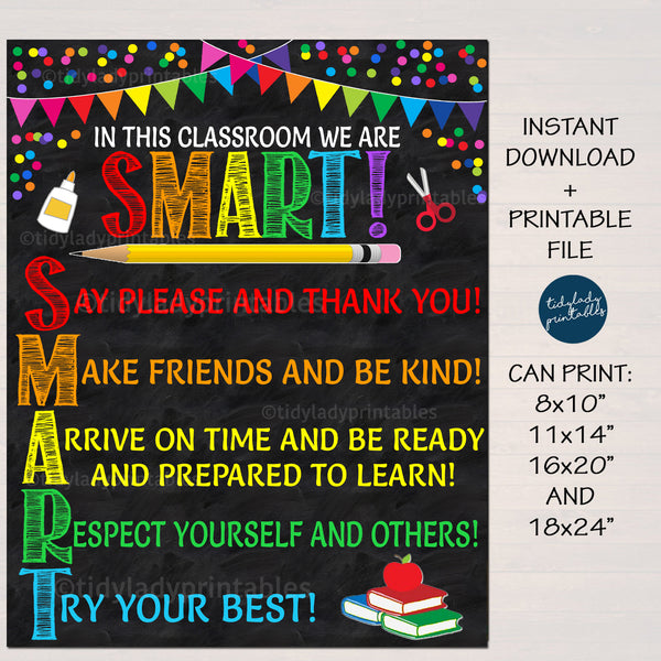 Smart Acronym Classroom Rules Poster