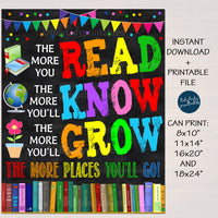 The More You Read The More You Know Classroom School Library Poster