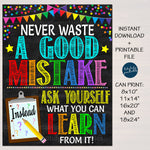 Growth Mindset Never Waste a Good Mistake Classroom Poster