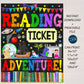 Reading is a Ticket to Adventure Classroom School Library Poster