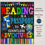 Reading is a Passport to Adventure Classroom School Library Poster