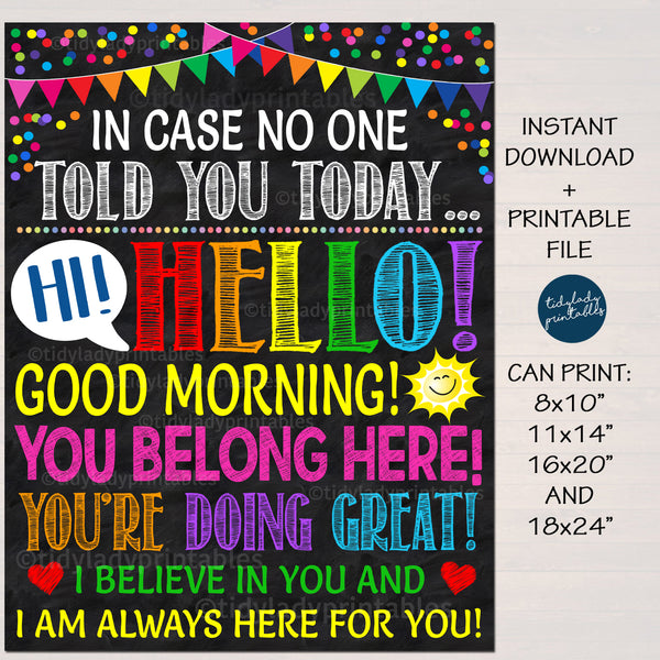 Dear Students Hello Good Morning Classroom Poster