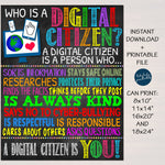 I Am A Digital Citizen Computer Lab Classroom Printable Poster