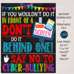 Anti Cyber Bully Poster Classroom Decor Printable Poster