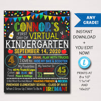 First Day Of Virtual School Sign - Any Grade - Editable Template