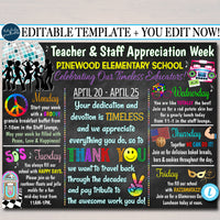 Decades Theme Teacher Appreciation Week Itinerary Poster Printable