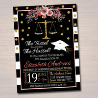 Law School Graduation Invitation Floral Printable, Female College Graduate Grad Party Invite Lawyer, Attorney Grad