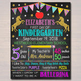 EDITABLE Unicorn Back to School Photo Prop, Back to School Chalkboard Poster, Girl School Chalkboard Sign, Any Grade Sign 1st Day of School