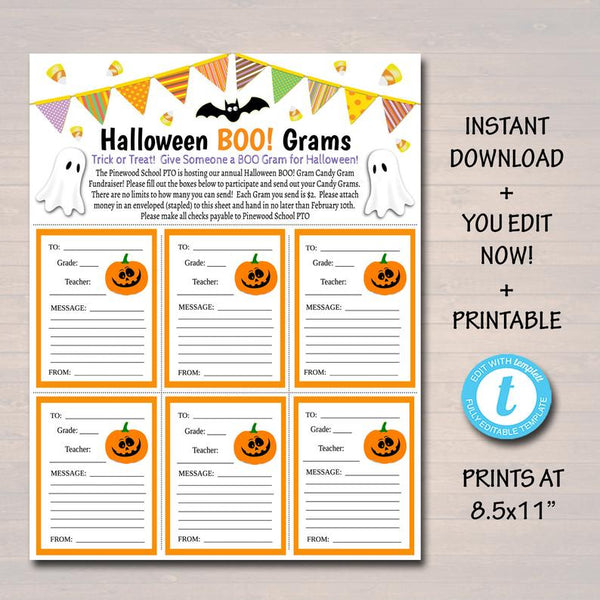 EDITABLE Halloween Candy Gram Flyer, School Fundraiser Template, Fall Trunk or Treat School Church Community Event, Pto Pta INSTANT DOWNLOAD