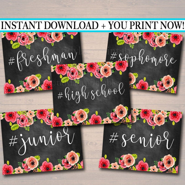 Floral Hashtag High School First Day of School Signs