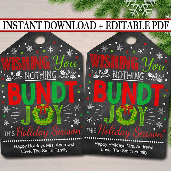 Christmas Bundt Cake Gift Tags, Secret Santa, Staff Teacher Volunteer Gift Holiday Printable Bakery White Elephant