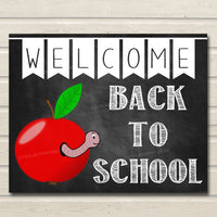 Welcome Back to School Sign, Classroom Decor, Apple School Decor, School Poster Classroom Decorations, Back to School Chalkboard School Sign