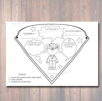 PRINTABLE Superhero Classroom Activity, INSTANT DOWNLOAD, SuperHero Classroom, Elementary Teacher Superhero Worksheets, Superhero Banner