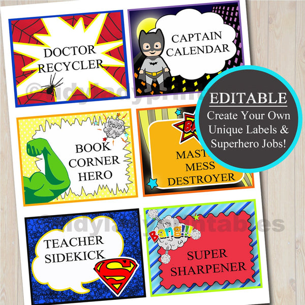 Superhero Classroom Job Labels, EDITABLE Comic Book Labels, Superhero Favor Tags, INSTANT DOWNLOAD, SuperHero Students, Super Hero Party