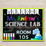 Science Teacher Classroom Door Sign - Editable DIY Template