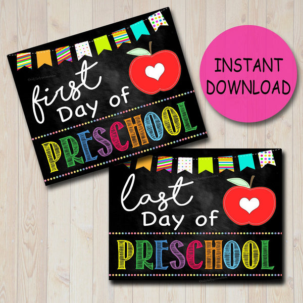 Back to School Photo Prop, First/Last Day of School Chalkboard Milestone Signs, PRESCHOOL, 1st Day of School Printable, INSTANT DOWNLOAD