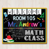 MATH Teacher Classroom Door Sign - Editable DIY Template