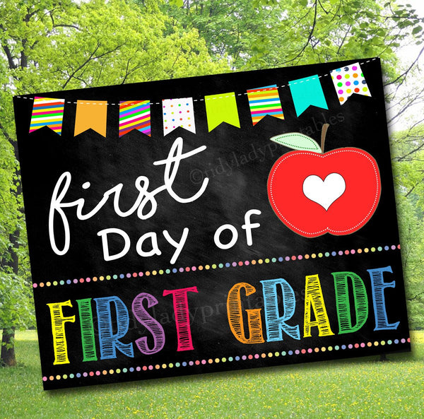 First Day of 1st Grade Photo Prop, Printable 1st Grade School Chalkboard Milestone Sign, Last Day of School Printable Prop, INSTANT DOWNLOAD