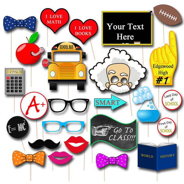 EDITABLE Back to School Photo Booth Props, End of Summer Party Props, Printable School Props INSTANT DOWNLOAD,  1st Day of School Party Sign