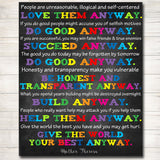Classroom Decor Inspirational Poster, School Counselor Office Decor, Social Worker Office, High School Classroom Poster Mother Theresa Quote