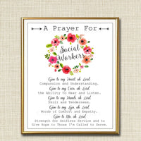 Social Worker Prayer Art, Social Worker Gift, Social Worker Office Decor Printable Wall Art, INSTANT DOWNLOAD Religious Social Worker Poster