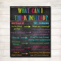Classroom Decor, What Can I Think Instead Classroom Poster, Counselor Office Poster, Social Work Office Art, Educational Motivational Poster