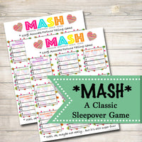 Printable Mash Game, Girls Party Game, Spa Party Beauty Party, Pamper Party Classic Sleepover Game, Printable Game of MASH, INSTANT DOWNLOAD