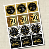 50th Birthday Cupcake Toppers PRINTABLE Cheers to Fifty Years, Cupcake Decoration 50th Birthday Cake Decor 50th Party Decor INSTANT DOWNLOAD