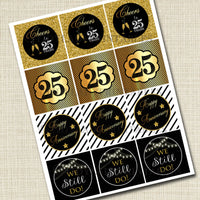 25th Anniversary Cupcake Toppers PRINTABLE Cheers to Twenty Five Years Cupcake Decoration 25th Anniversary 25th Party Decor INSTANT DOWNLOAD