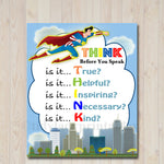 PRINTABLE Think Before You Speak Superhero Sign, INSTANT DOWNLOAD, SuperHero Classroom Poster, Classroom Hero Decoration, Teacher Printables
