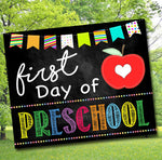 First Day of PreSchool Photo Prop, Printable Preschool School Chalkboard Milestone Sign, 1st Day of School Printable Prop, INSTANT DOWNLOAD