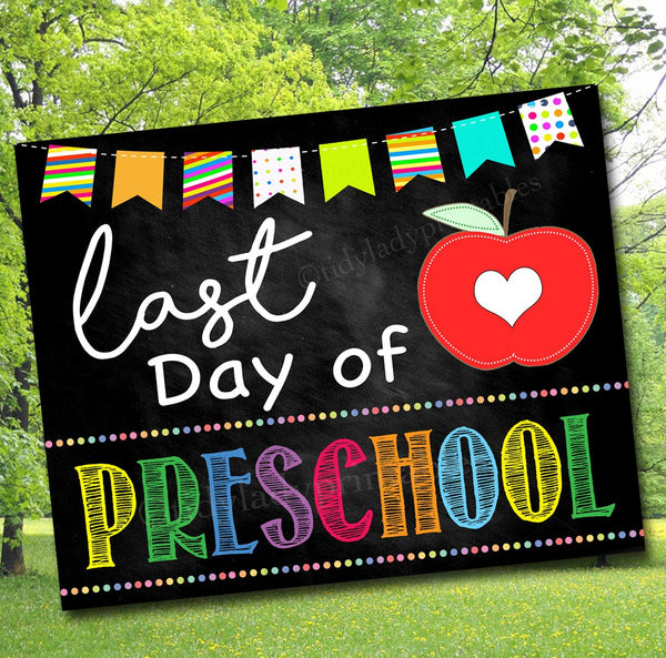 photograph relating to Last Day of Preschool Sign Printable named Past Working day of PreSchool Photograph Prop, Printable Preschool College or university Chalkboard Milestone Signal, Remaining Working day of Faculty Printable Prop, Quick Down load