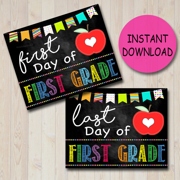Back to School Photo Prop, First/Last Day of School Chalkboard Signs, FIRST Grade, 1st Day of School Printable, INSTANT DOWNLOAD, Digital