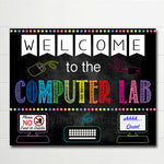 Computer Lab School Sign, Classroom Decor, Teacher Door Sign, Computers Class Sign, Classroom Decorations, Classroom Rules Chalkboard Poster