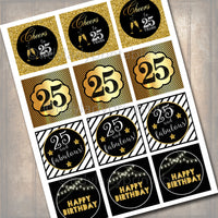 25th Birthday Cupcake Toppers PRINTABLE Cheers to Twenty Five Years Cupcake Decoration 25th Birthday 25th Party Decor INSTANT DOWNLOAD