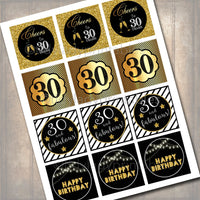 30th Birthday Cupcake Toppers, PRINTABLE, Cheers to Thirty Years Cupcake Decoration, 30th Birthday, 30th Party Decor, INSTANT DOWNLOAD