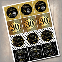30th Anniversary Cupcake Toppers PRINTABLE Cheers to Thirty Years Cupcake Decoration 30th Anniversary Cake 30th Party Decor INSTANT DOWNLOAD