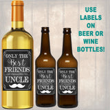 Best Friends Get Promoted to Uncle, Beer & Wine Label Pregnancy Announcement INSTANT DOWNLOAD, You're Going to Be An Uncle Pregnancy Reveal