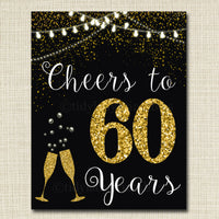 Cheers to Sixy Years, Cheers to 60 Years, 60th Wedding Sign, 60th Birthday Sign, 60th Party Decorations, 60th Anniversary, INSTANT DOWNLOAD