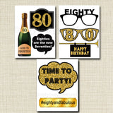 EDITABLE 80th Birthday Party Props, Printable Photo Booth Props INSTANT DOWNLOAD 80th Party Props, Eightieth Birthday, 80th Party Photobooth